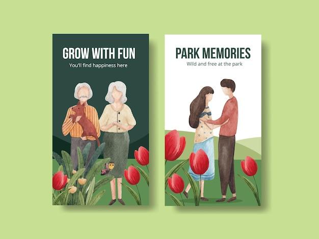 Modèle instagram avec conception de concept de parc et de famille pour illustration aquarelle de médias sociaux