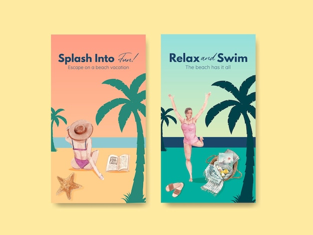 Modèle instagram avec conception de concept de vacances à la plage pour illustration aquarelle de médias sociaux