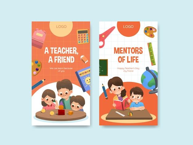 Modèle instagram avec la conception du concept de la journée des enseignants