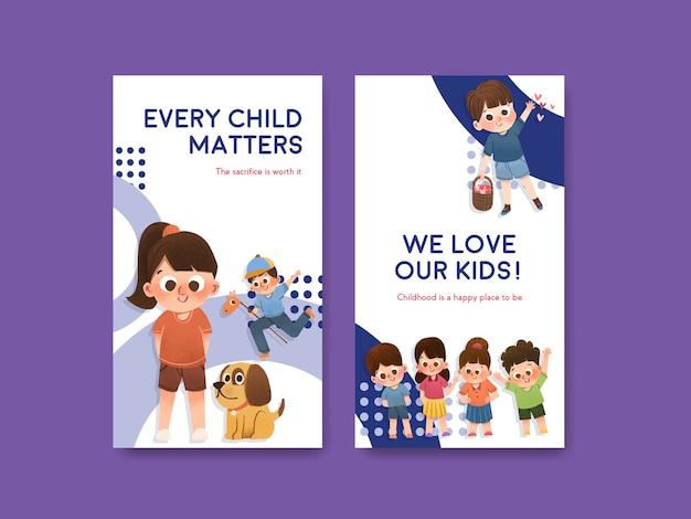 Modèle instagram avec la conception de la journée des enfants