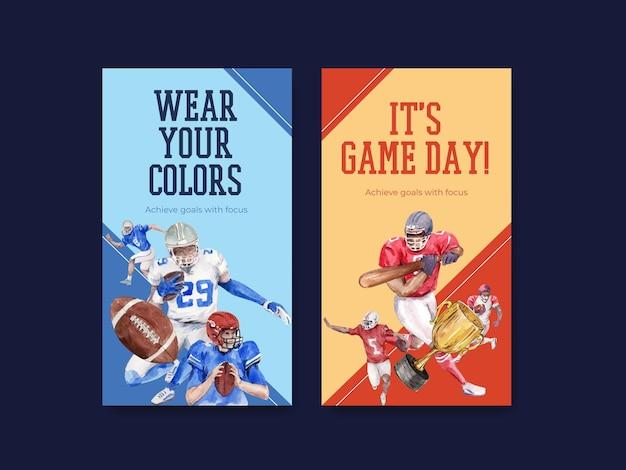 Modèle instagram avec design de concept de sport super bol pour le marketing en ligne et illustration vectorielle aquarelle de médias sociaux.
