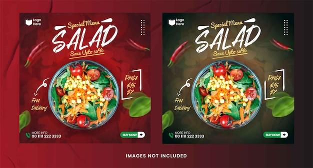 Modèle instagram et facebook de publication sur les médias sociaux de salade bio alimentaire