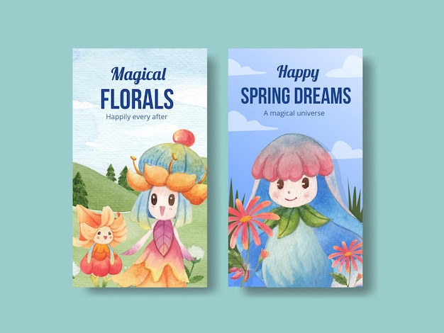 Modèle instagram avec illustration aquarelle de concept de caractère floral