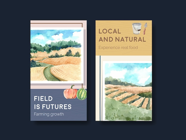 Modèle instagram avec illustration aquarelle de conception de concept biologique de ferme.