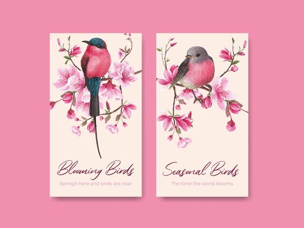 Modèle instagram avec illustration aquarelle de fleur oiseau concept design