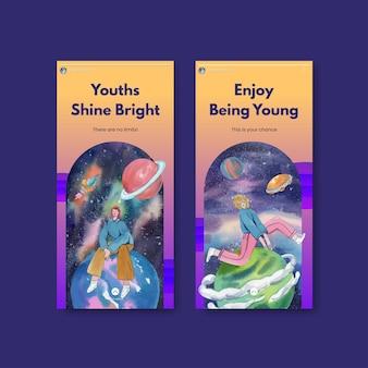 Modèle instagram avec journée internationale de la jeunesse dans un style aquarelle
