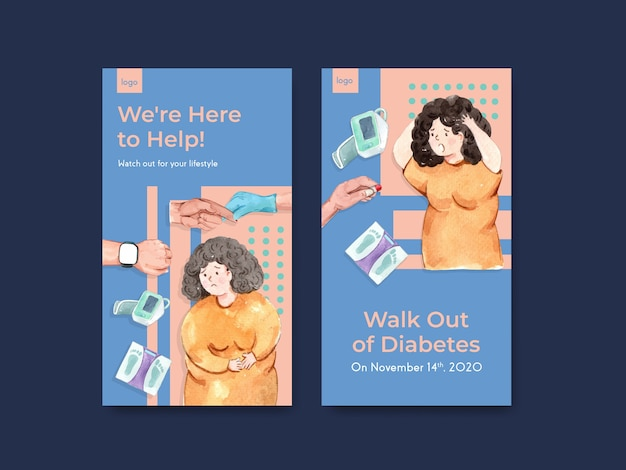 Modèle instagram avec la journée mondiale du diabète pour les médias sociaux et l'aquarelle de marketing en ligne