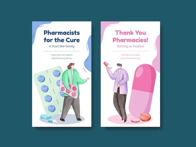 Modèle instagram avec la journée mondiale des pharmaciens dans un style aquarelle