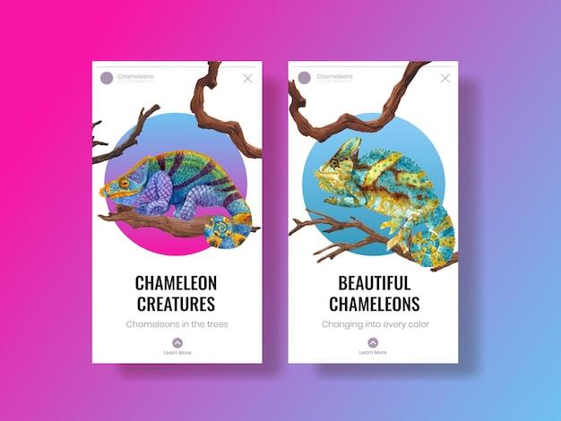 Modèle instagram avec lézard caméléon dans un style aquarelle