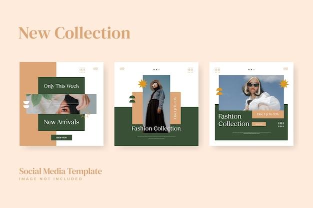 Modèle instagram de médias sociaux de collection de mode minimaliste