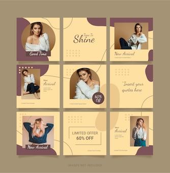 Modèle instagram mode femmes puzzle post