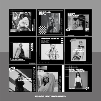 Modèle instagram noir et blanc en niveaux de gris pour la publication de médias sociaux de mode