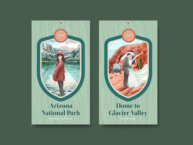 Modèle instagram avec les parcs nationaux du concept des états-unis, style aquarelle