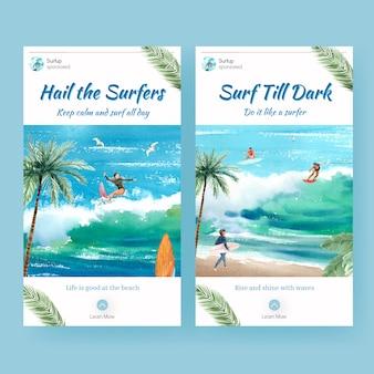 Modèle instagram avec des planches de surf à la plage