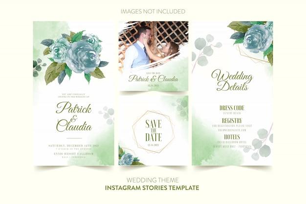 Modèle instagram pour carte d'invitation de mariage avec aquarelle fleur et feuilles