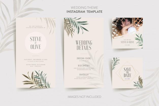 Modèle instagram pour carte d'invitation de mariage avec fleur et feuilles tropicales