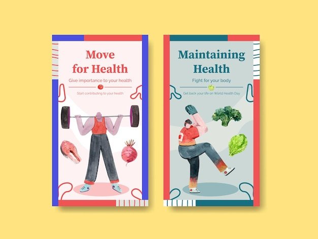 Modèle instagram pour la journée mondiale de la santé dans un style aquarelle