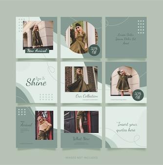 Modèle instagram puzzel feed fashion women. conception de médias sociaux