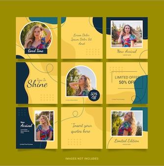 Modèle instagram puzzle post mode femmes conception de médias sociaux