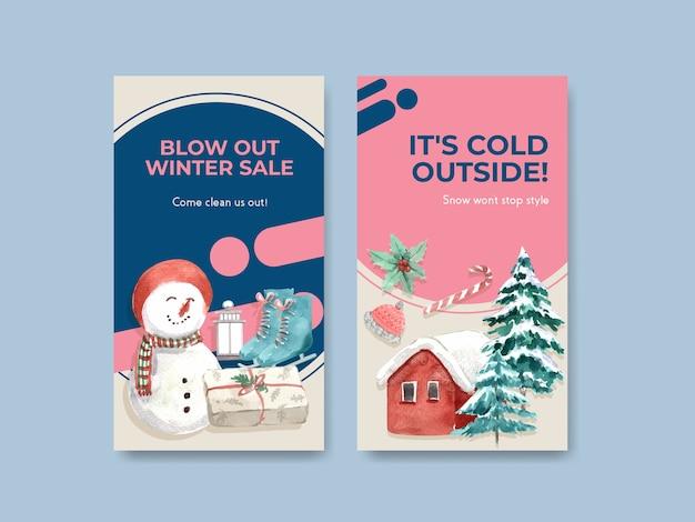 Modèle instagram sertie de soldes d'hiver pour les médias sociaux dans un style aquarelle
