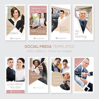 Modèle instagram stories avec des citations. affaire d'entreprise. design épuré