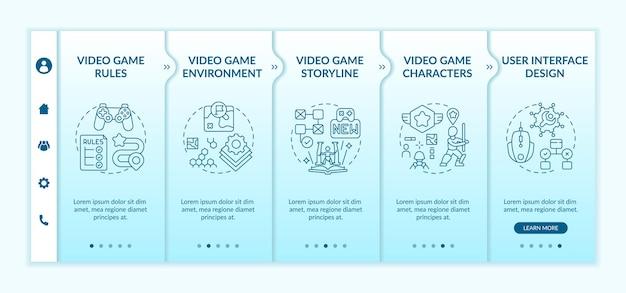 Modèle d'intégration de composants de conception de jeux vidéo. création de règles de jeu vidéo pour améliorer l'histoire. site web mobile réactif avec des icônes. écrans d'étape de visite virtuelle de la page web.