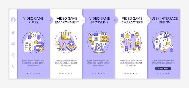 Modèle d'intégration de composants de conception de jeux vidéo. processus de création d'environnement de jeu vidéo. site web mobile réactif avec des icônes. écrans d'étape de visite virtuelle de la page web.