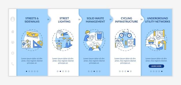 Modèle d'intégration de construction urbaine. recyclage des ordures, plan d'infrastructure. éclairage public. site web mobile réactif avec des icônes. écrans d'étape de visite virtuelle de la page web. concept de couleur