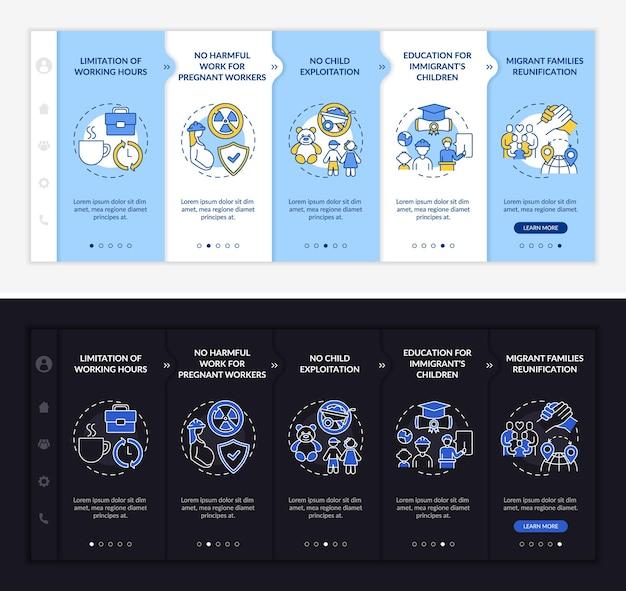 Modèle d'intégration des droits des travailleurs immigrés. site web mobile réactif avec des icônes