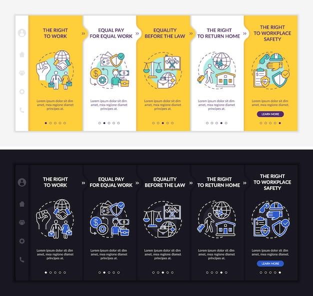Modèle d'intégration des droits des travailleurs migrants. site web mobile réactif avec des icônes