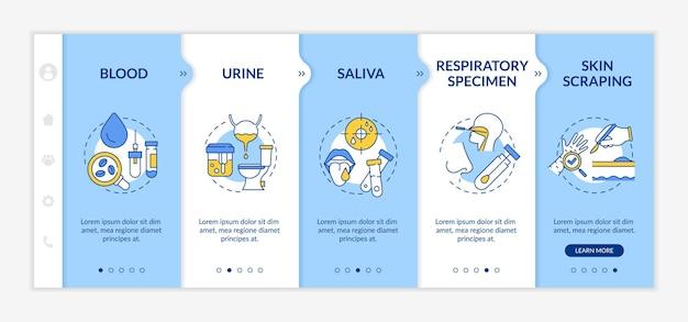 Modèle d'intégration d'échantillons de laboratoire. sang, urine, salive. spécimen respiratoire. grattage de la peau. site web mobile réactif avec des icônes. écrans d'étape de visite virtuelle de la page web. concept de couleur rvb