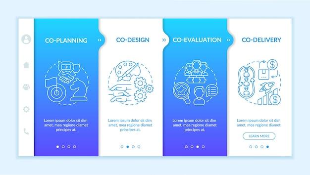 Modèle d'intégration des éléments de production collaborative. processus de développement de la conception. co-livraison. site web mobile réactif avec des icônes. écrans d'étape de visite virtuelle de la page web. concept de couleur rvb