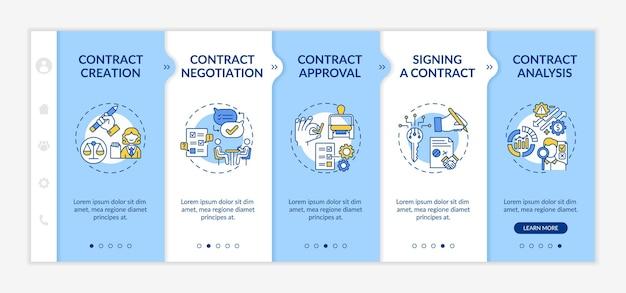 Modèle d'intégration des étapes du cycle de vie du contrat. processus de création et de négociation de contrat. site web mobile réactif avec des icônes. écrans d'étape de visite virtuelle de la page web. concept de couleur rvb