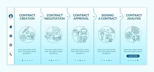 Modèle d'intégration des étapes du cycle de vie du contrat. signature du contrat. processus d'analyse des contrats. site web mobile réactif avec des icônes. écrans d'étape de visite virtuelle de la page web. concept de couleur rvb