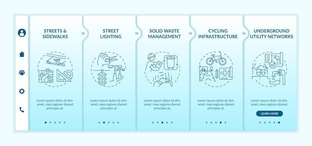 Modèle d'intégration de l'ingénierie urbaine. gestion des déchets, planification des infrastructures. réverbères. site web mobile réactif avec des icônes. écrans d'étape de visite virtuelle de la page web. concept de couleur rvb