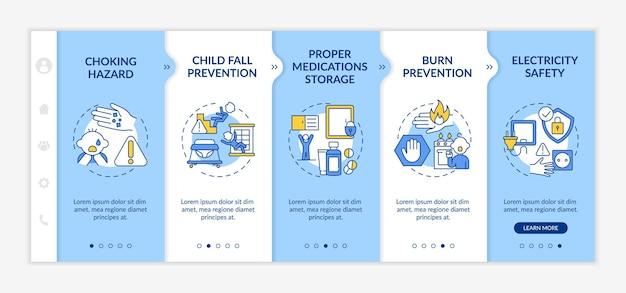 Modèle d'intégration à la maison à l'épreuve des enfants. maison à l'épreuve des bébés. soins parentaux pour élever l'enfant. la sécurité des enfants. site web mobile réactif avec des icônes. écrans d'étape de visite virtuelle de la page web.