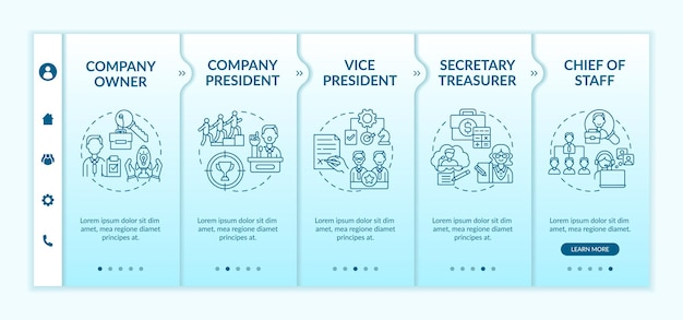 Modèle d'intégration des postes de direction de l'entreprise. chef d'équipe. secrétaire et trésorier. site web mobile réactif avec des icônes. écrans d'étape de visite virtuelle de la page web. concept de couleur rvb