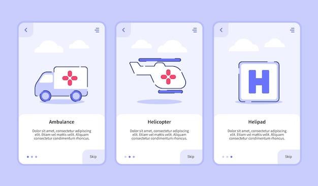 Modèle d'intégration pour hélicoptère d'ambulance icône médicale