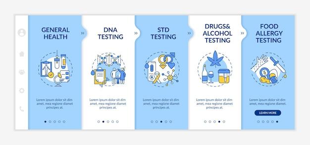 Modèle d'intégration des principales catégories de tests de laboratoire. santé générale. test adn, mst. site web mobile réactif avec des icônes. écrans d'étape de visite virtuelle de la page web. concept de couleur rvb