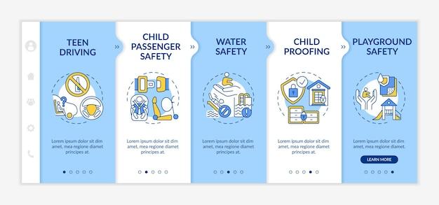 Modèle d'intégration de sécurité pour enfants. sécurité aquatique, prévention des noyades. sécurité enfant. sécurité des terrains de jeux. site web mobile réactif avec des icônes. écrans d'étape de visite virtuelle de la page web. concept de couleur rvb