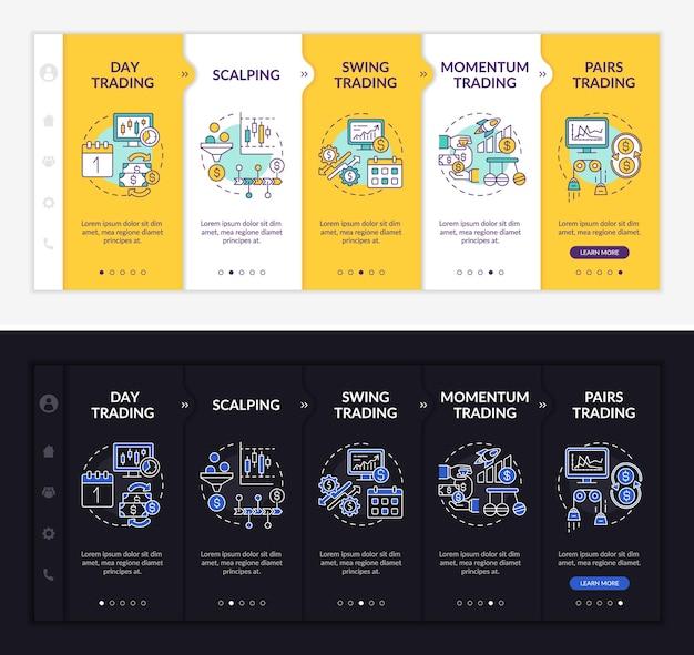 Modèle d'intégration des stratégies de bourse. site web mobile réactif avec des icônes