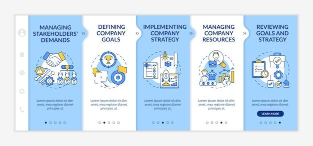 Modèle d'intégration des tâches de gestion supérieures. gérer les demandes des parties prenantes. définition des objectifs de l'entreprise. site web mobile réactif avec des icônes. écrans d'étape de visite virtuelle de la page web. concept de couleur rvb