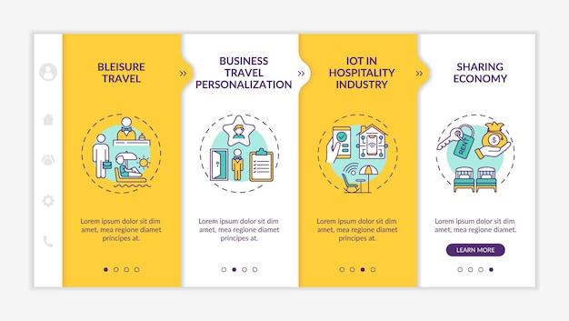 Modèle d'intégration des tendances des voyages d'affaires. voyage bleisure. personnalisation des voyages d'affaires. site web mobile réactif avec des icônes. écrans d'étape de visite virtuelle de la page web. concept de couleur rvb
