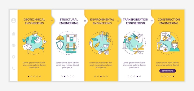 Modèle d'intégration de travaux d'ingénierie professionnelle. etude structurelle, planification environnementale. site web mobile réactif avec des icônes. écrans d'étape de visite virtuelle de la page web. concept de couleur