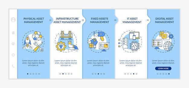 Modèle d'intégration des types de gestion des investissements. gestion des immobilisations et des actifs numériques. site web mobile réactif avec des icônes. écrans d'étape de visite virtuelle de la page web.