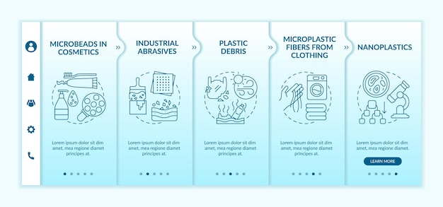Modèle d'intégration des types de microplastiques. site web mobile réactif avec des icônes