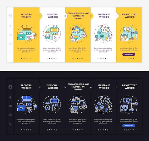 Modèle d'intégration des types de travailleurs migrants. site web mobile réactif avec des icônes