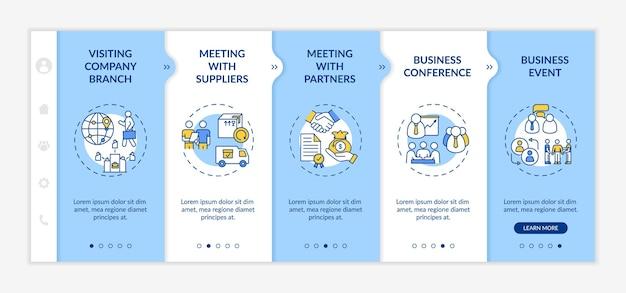 Modèle d'intégration des types de voyages d'affaires. visite de la succursale de l'entreprise. rencontre avec les fournisseurs. site web mobile réactif avec des icônes. écrans d'étape de visite virtuelle de la page web. concept de couleur rvb