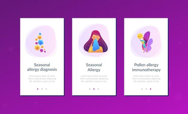 Modèle d'interface d'application d'allergie saisonnière.