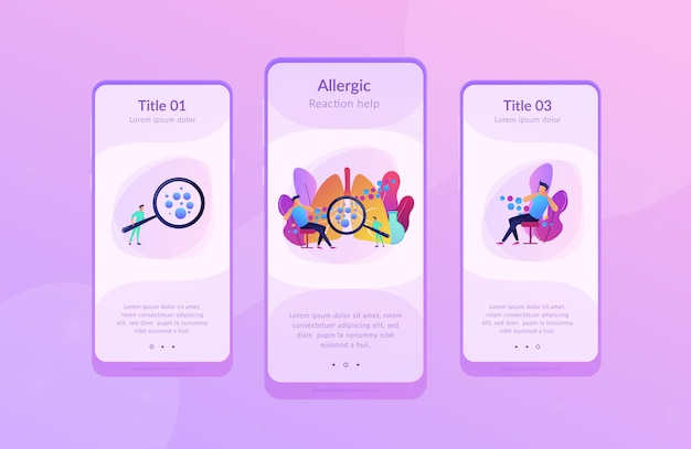 Modèle d'interface de l'application anaphylaxie.